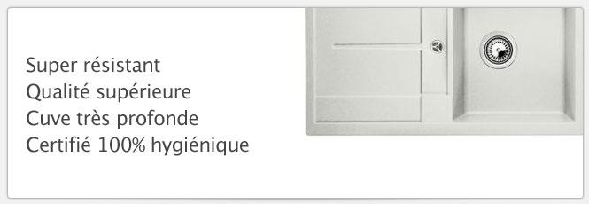 Evier Blancometra 45S Gris soie très résistant