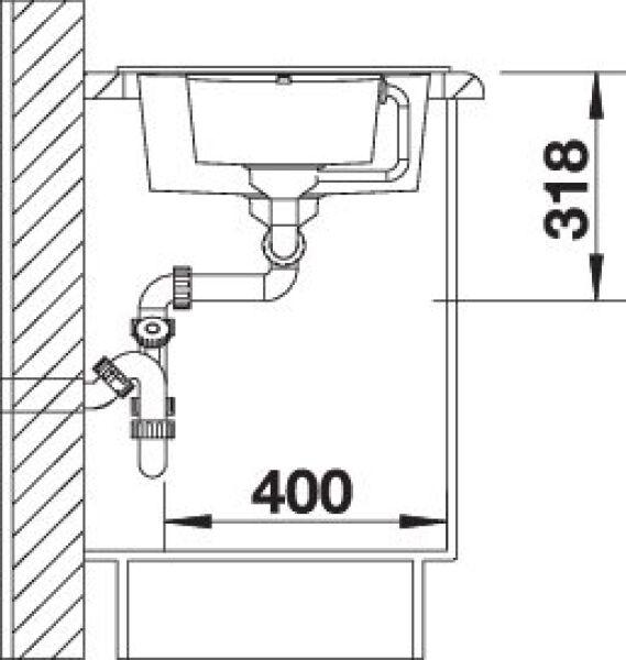 EVIER BLANCO METRA 6S COMPACT ANTHRACITE - Vidage Automatique