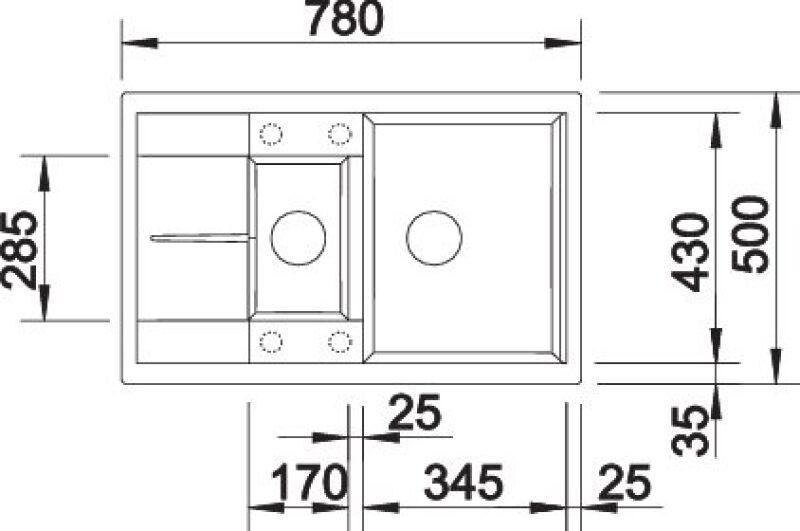 EVIER BLANCO METRA 6S COMPACT ALUMETALLIC - Vidage Automatique