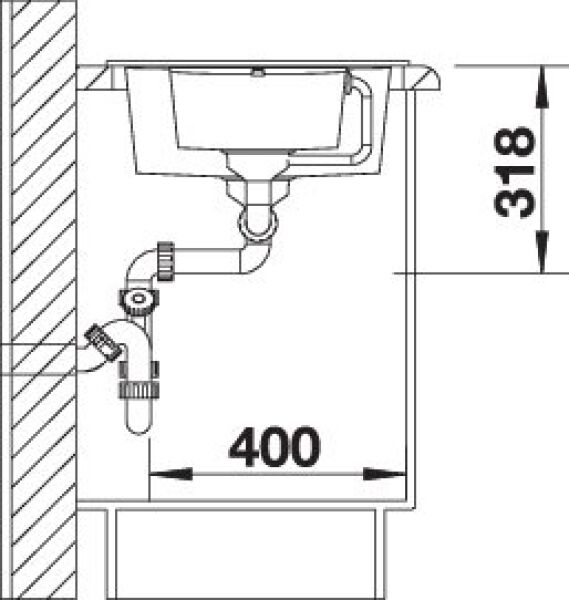 EVIER BLANCO METRA 6S COMPACT CAFE - Vidage Automatique