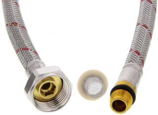 Flexible d'alimentation HP rouge avec joint/tamis 90 cm M10x1 BL (NF)